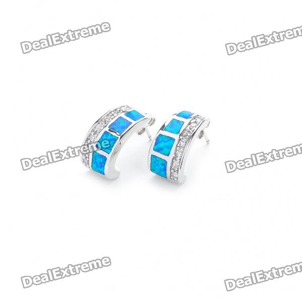 Elegant Copper Alloy Earrings - Silver + Blue (Pair)