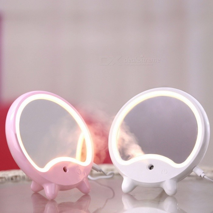 Image of USB Nano Spray Beauty Moisturizer Humidifier Desktop Beauty Makeup Mirror With LED Fill Light For Girls Pink