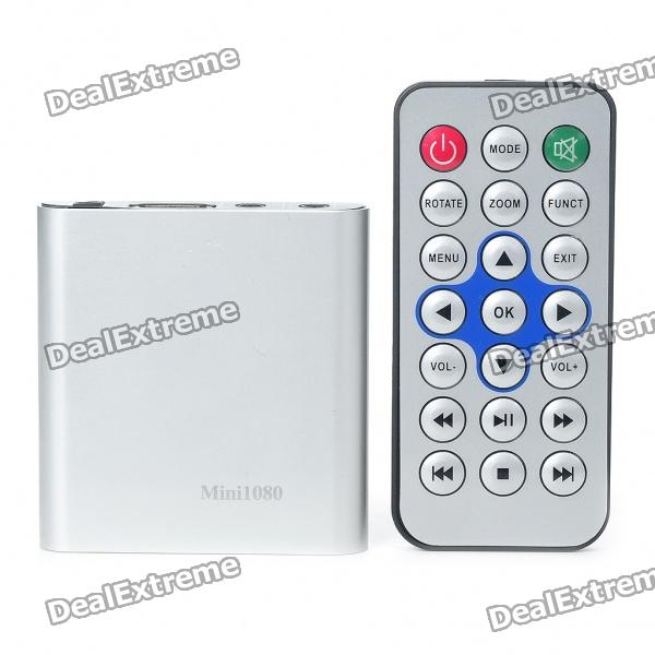 Mini 1080P Full HD Media Player with YPbPr/AV/Optical/HDMI/USB HOST/SD - Silver