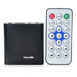Mini 1080P Full HD Media Player with YPbPr/AV/HDMI/USB HOST/SD - Black
