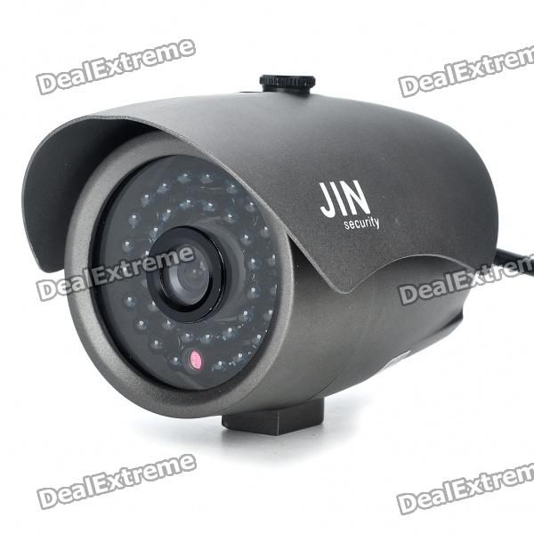 1/3 CCD Waterproof Surveillance Security Camera with 36-LED Night Vision - Grey (DC 12V)