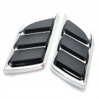 Universal Air Flow Vent Hood Covers for Car - Silver + Black (Pair)