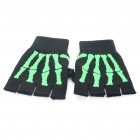Sporty Half-Finger Gloves - Black + Green (Pair)