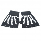 Sporty Half-Finger Gloves - Black + White (Pair)