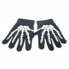 Sporty Full-Finger Gloves - Black + White (Pair)