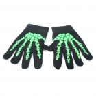 Sporty Full-Finger Gloves - Black + Green (Pair)