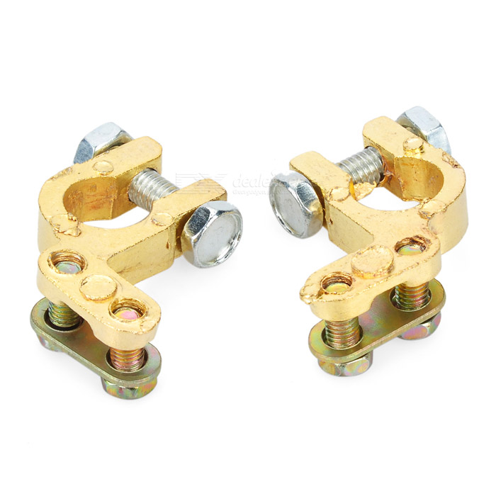 Copper Alloy Battery Terminal for Car - Golden (Pair)