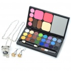 Charming Crystal Earrings + Necklace + Professional Makeup Set