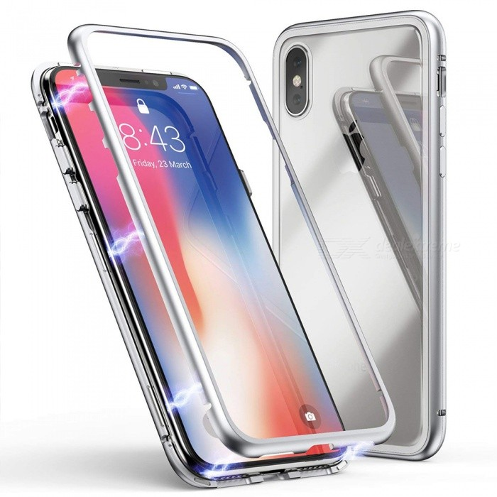 new arrival 1fbf3 69960 Cooho 360 Magnetic Phone Case Tempered Glass Back Cover for IPHONE X