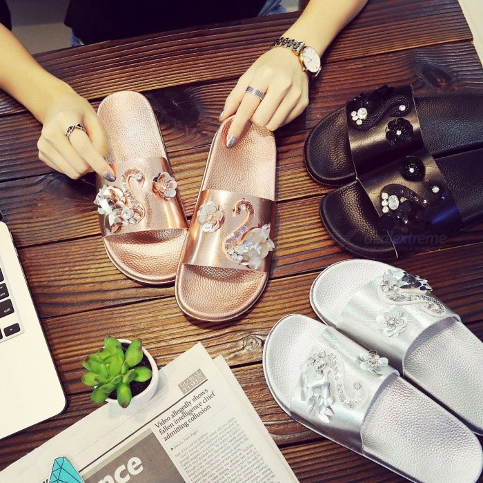 424896b37f Fashion Sequined Swan Womens Slippers Outdoor Casual Anti-Slip Beach Shoes  Flat Sandals Black