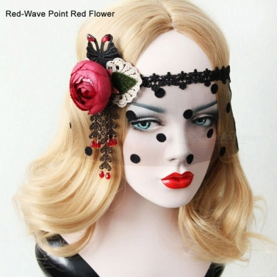 Holloween Decoration Flower Decorated Sexy Half-Face Mask For Women Retro Lace Mask For Party Costume Red