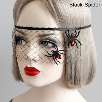 Halloween Masquerade Party Spider Flower Princess Mask Cover, Half Face Mesh Fun Goggles Veil For Festival Party Red