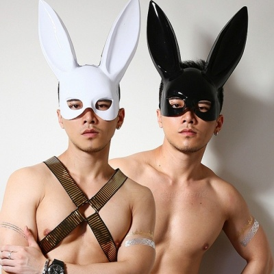 Holloween Decoration Rabbit Ear Style Sexy Half-Face Mask For Party Costume Performance Night Club White