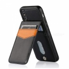 Measy Premium PU Leather Kickstand Wallet Case with Card Holder for IPHONE X - Black