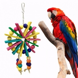 Birds Toys Pet Colorful Parrot Chew Bite Climb Wooden Ladder Ferris Wheel Hanging Toy Bird Cage Accessories Assorted