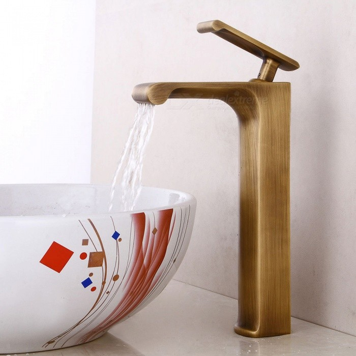 Antique Brass Waterfall Ceramic Valve One-Hole Bathroom Sink Faucet ...