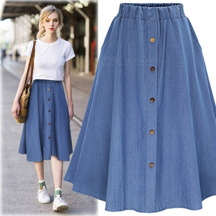 9a4fb9af45 New Women s A Word Skirts Summer Fashion Casual Retro High Waist Buckle  Elastic Waist Solid Color Dress Light Blue One Size - Free shipping -  DealExtreme