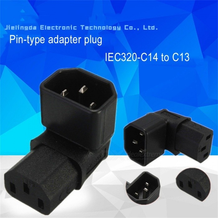 L Shape 90 Degree Elbow C13 Female To C14 Male Plug Socket Adapter Converter For Wall