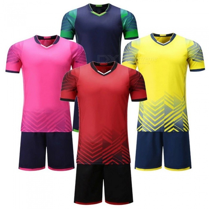 Breathable Team Soccer Uniforms, Football Jersey Kit, Training Set Sports  Suit Adults Red/XL