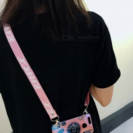Multifunction Mobile Phone Lanyard Straps Neck Hanging Rope With Double Buckle Phone Accessories Random Color Pink