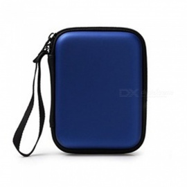 2.5 Inch PU Leather Zipper Cable Organizer Bag, Waterproof Earphone Accessory And Portable Power Bank Storage Bag Blue