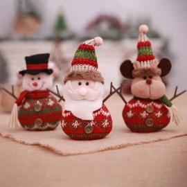 Cartoon Christmas Ornament, Linen Plush Doll Gift For Children Home Christmas Party Decoration Dark Khaki