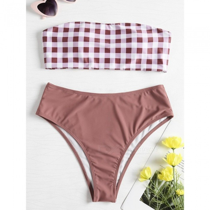 7fcc84b8d5 Swimwear Female Two Pieces Swimsuit Plaid Print Sexy High Waist Women Tube  Top Bathing Suit Bikinis Set Brown L - Free shipping - DealExtreme