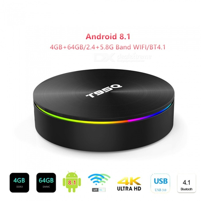 tv box android 8.1 4gb 64 gb ddr4  Android 8.1 TV BOX Amlogic S905X2 T95Q Smart Media Player 4GB 64GB ...