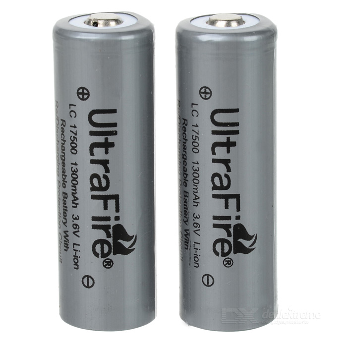 Ultrafire 17500 3.6V 1300mAh Protected Li-ion Rechargeable Batteries (2-Pack) ultrafire protected 18650 3 7v 2400mah lithium batteries 2 pack grey