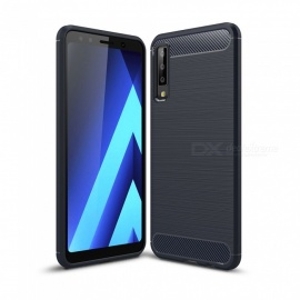 Naxtop Carbon Fiber Brushed Soft TPU Non-slip Back Cover Case for Samsung Galaxy A7 2018 / A750