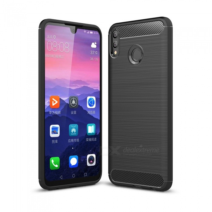 Naxtop Carbon Fiber Brushed Soft TPU Non-slip Back Cover Case for XHuawei Honor 8X Max