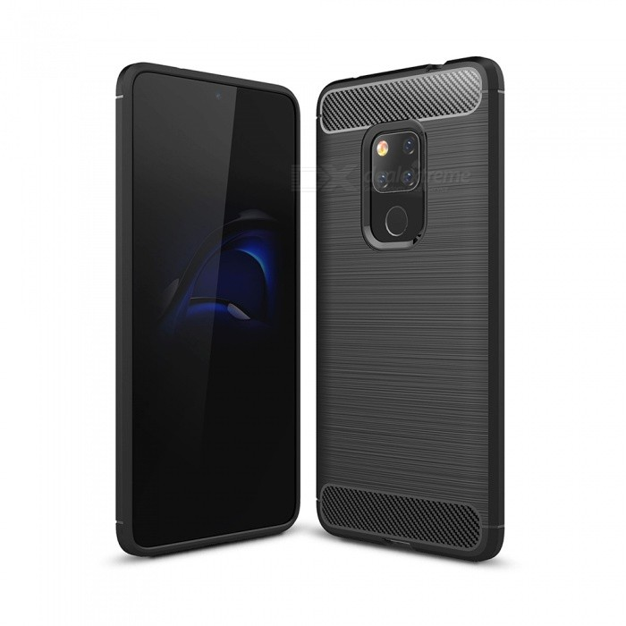 Naxtop Carbon Fiber Brushed Soft TPU Non-slip Back Cover Case for Huawei Mate 20