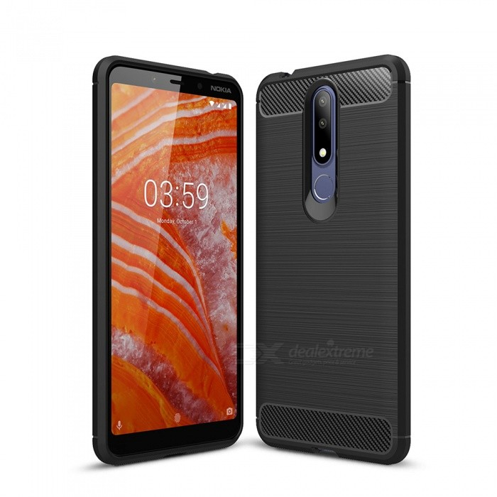 Naxtop Carbon Fiber Brushed Soft TPU Non-slip Back Cover Case Protective for Nokia 3.1 Plus