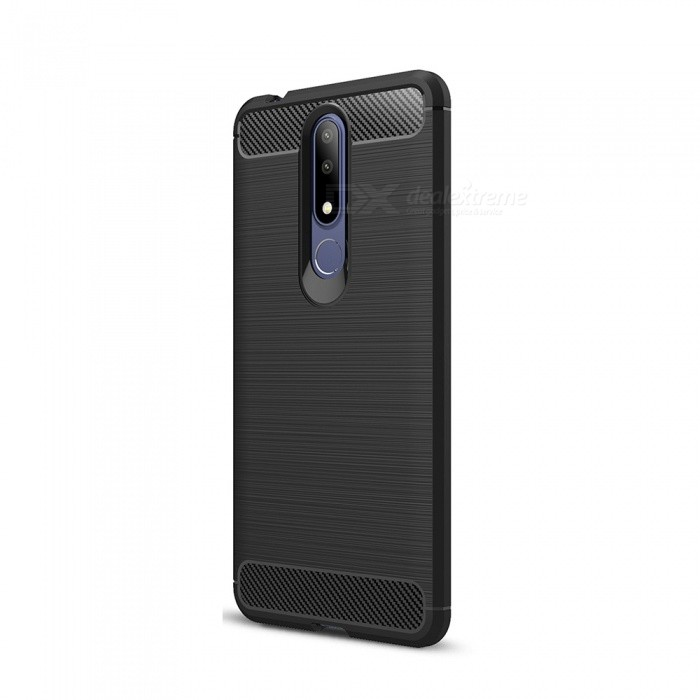 finest selection 48ebe 3cc35 Naxtop Carbon Fiber Brushed Soft TPU Non-slip Back Cover Case Protective  for Nokia 3.1 Plus
