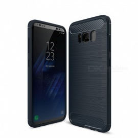 Naxtop Carbon Fiber Brushed Soft TPU Non-slip Back Cover Case Protective for Samsung Galaxy S8 Plus / S8+ / G955