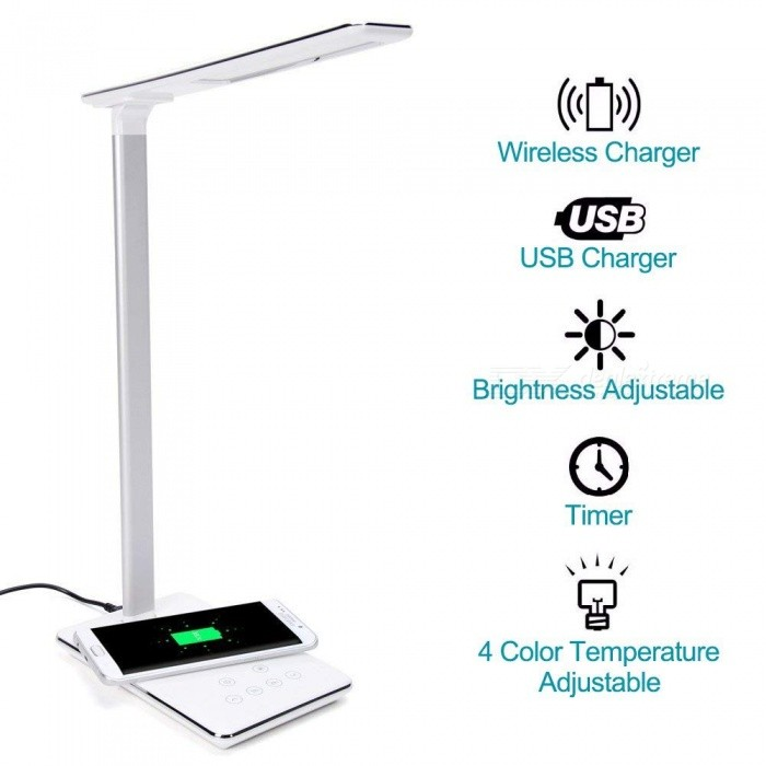 Measy Led Desk Lamp Dimmable Table Lamp With Qi Wireless