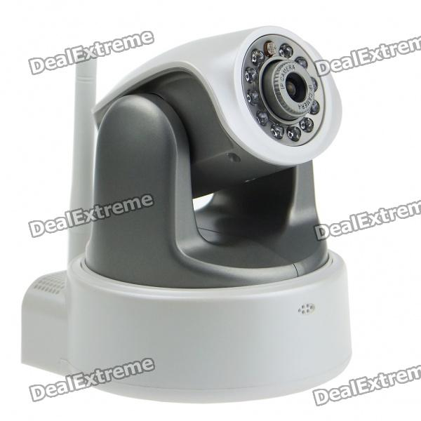 300KP Wireless Wi-Fi Network CCTV Surveillance IP Camera w/ 10-LED Night Vision/Microphone - Grey