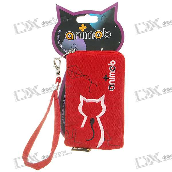 Cute Animob Kitty Cat Leather Bag for Cell Phone and Gadgets (Color Assorted)