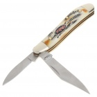 Mini Stainless Steel Manual-Release Dual-Blade Folding Knife