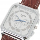 Stylish Quartz Wrist Watch with Stainless Steel Dial + PU Leather Band - Brown (1 x 377)