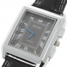 Stylish Quartz Wrist Watch with Stainless Steel Dial + PU Leather Band - Black (1 x 377)