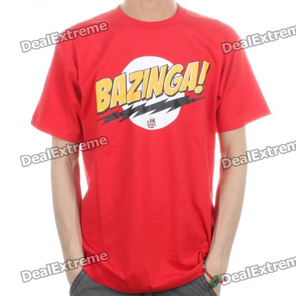 The Big Bang Theory Series Bazinga Cotton T-shirt - Red (Size L)