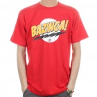 The Big Bang Theory Series Bazinga Cotton T-shirt - Red (Size XL)