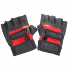 Stylish Half-Finger Leather Gloves - Red + Black (Size L/Pair)