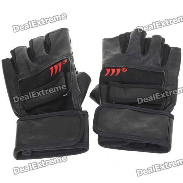Anti-Slip Half-Finger Leather Gloves - Red + Black (Size L/Pair) pro biker mcs 04 motorcycle racing half finger protective gloves red black size m pair