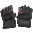 Anti-Slip Half-Finger Leather Gloves - Red + Black (Size L/Pair)