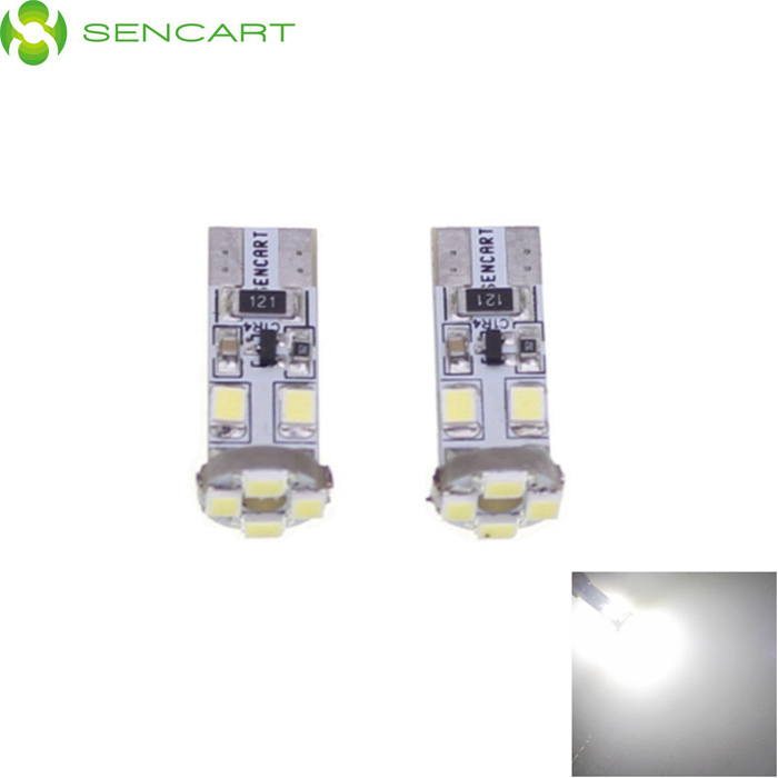 T10 3528 0.5W 35LM White Light 8-LED Car Signal Light Bulbs (2-Pack/DC 12V)