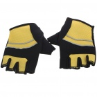 Half-finger Racing Gloves - Black + Yellow (Pair)