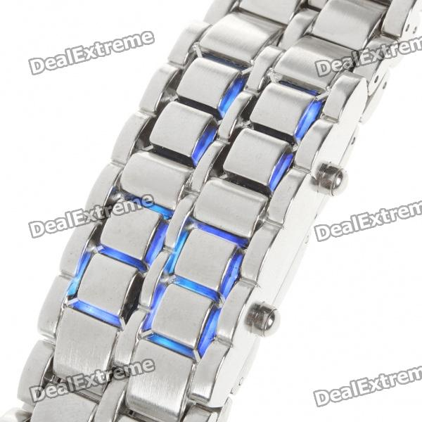 Stylish 72-LED Blue Light Digit Alloy Bracelet Wrist Watch - Silver (2 x CR2032) deppa blue 72