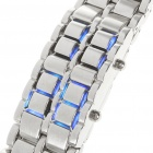 Stylish 72-LED Blue Light Digit Alloy Bracelet Wrist Watch - Silver (2 x CR2032)